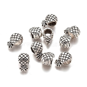 Tibetan Style Alloy European Beads, Large Hole Beads, Lead Free & Cadmium Free, Pineapple, Antique Silver, 11.5x7x7mm, Hole: 4.5~5mm(PALLOY-F277-44AS-RS)