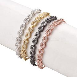 """Bracelets bolo réglables en laiton, Bracelets coulissants, avec des liens de zircons, infini, clair, couleur mixte, 11-7/8"""" (30cm); 1.3mm(BJEW-O167-02)"""