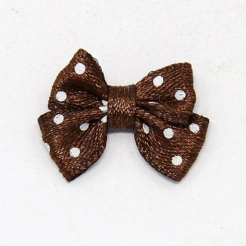 Spot Ribbon Hair Bows, Fabric Material in Polka Dots Design, good for Dress & Hair Jewelry Decoration, Coffee, about 17~18mm wide, 24mm long(X-DBF020-6)