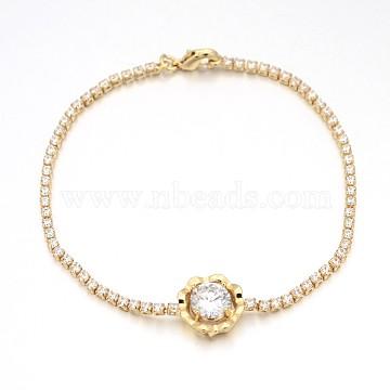 Golden Plated Brass Cubic Zirconia Cup Chain Bracelets, Flower, Clear, 200x2mm(BJEW-H0001-01G)