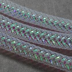 Fils résille tubulaire, Filet en plastique, avec ab veine de couleur, floral blanc, 16mm, 28 mètres(PNT-Q004-16mm-01)