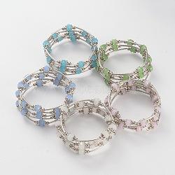 Cinq boucles de bracelets wrap imitation jade de perles de verre, avec des conclusions en alliage de style tibétain et un fil de mémoire de bracelet en acier, couleur inoxydable, couleur mixte, 56mm(BJEW-JB02125)
