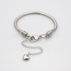 304 serpent en acier inoxydable de style européen bracelets chaînes, avec fermoir pince de homard, couleur inoxydable, 150x3mm(BJEW-N233-04)