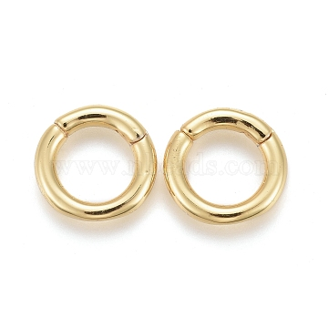 Brass Twister Clasps, Long-Lasting Plated, Ring, Real 18K Gold Plated, 10x2mm; Inner Diameter: 6.5mm(KK-F821-01B-G)