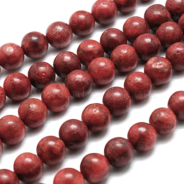 Synthetic Grass Coral Round Beads Strands, 10mm, Hole: 1mm; about 39pcs/strand, 15.7inches(X-CORA-E032-10mm-01)
