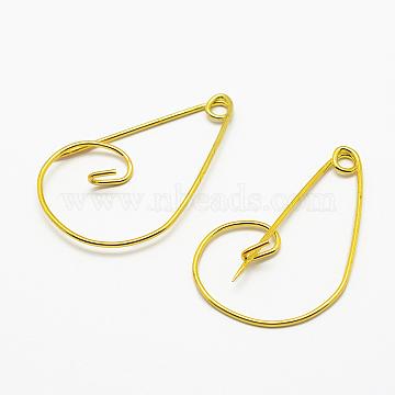 Iron Brooch Findings, Kilt Pins, Golden, 24x37.5x4.5mm; Pin: 1mm(X-IFIN-K028-01G)